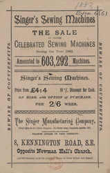 Advert for Singer Sewing Machines